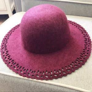 A New Day Wide Brim Wool Maroon Hat